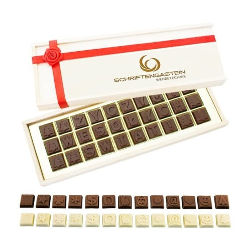 Csokoládé üzenet D30 fadobozban