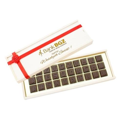 Csokoládé üzenet fadobozban