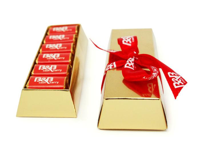 egyedi reklámcsoki aranytömb dobozban